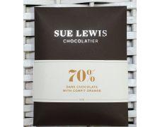 Sue Lewis Bar 70% Premium Dark Chocolate with Confit Orange 50g